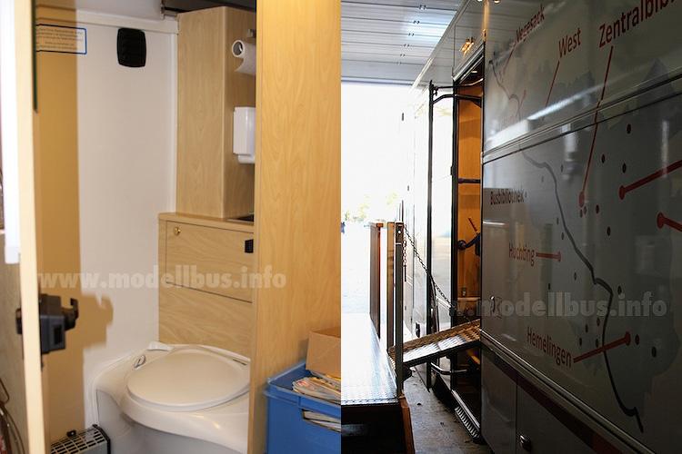 Mit an Bord: Eine Toilette, denn ein Arbeitstag ist bekanntlich lang... Um das Beladen zu erleichtern, ist für die Rollwagen mit den neuen Büchern eine Klapprampe verbaut worden. Fotos: Schreiber
