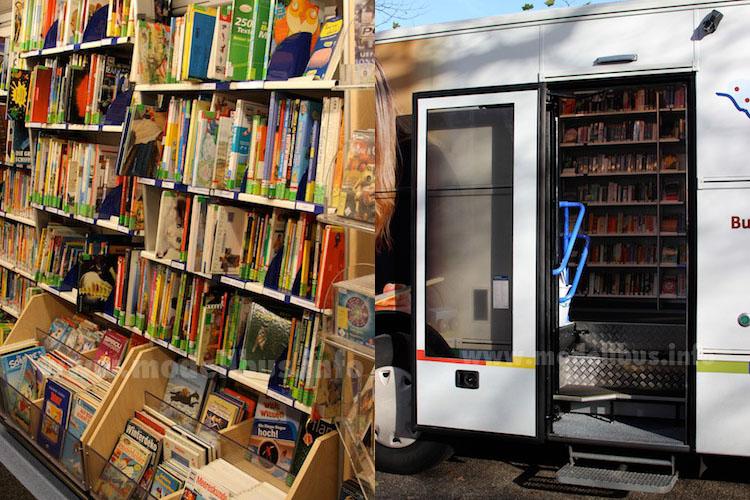 Die Anordnung der Regalböden verhindert das Rutschen der Bücher. Bitte Einsteigen: Eine breite Tür macht den Weg zu den Büchern frei. Fotos: Schreiber