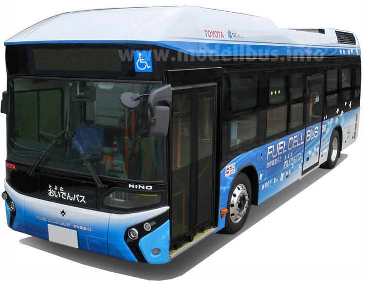 Fast elf Meter lang und mit zwei Brennstoffzellen-Stacks an Bord: Der Brennstoffzellen-Bus von Toyota.