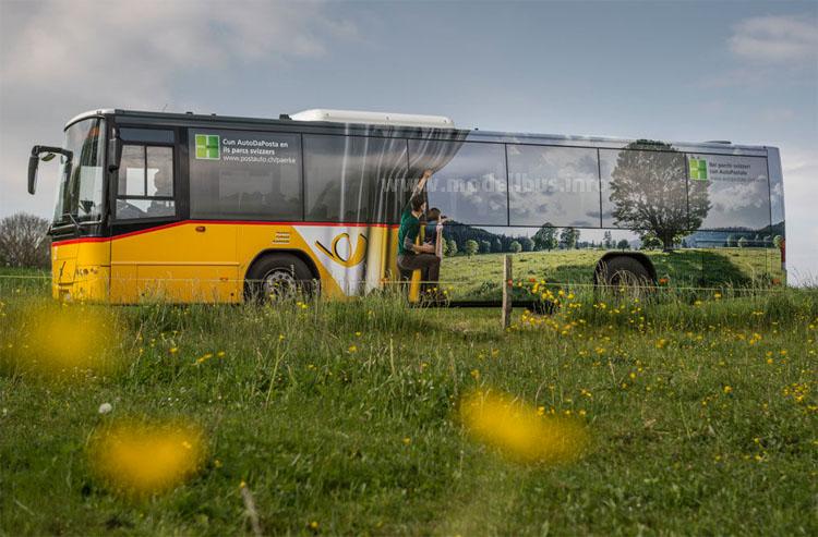 Natur pur: Außen und innen sind die Fahrgäste von Wald und Wiese umgeben...