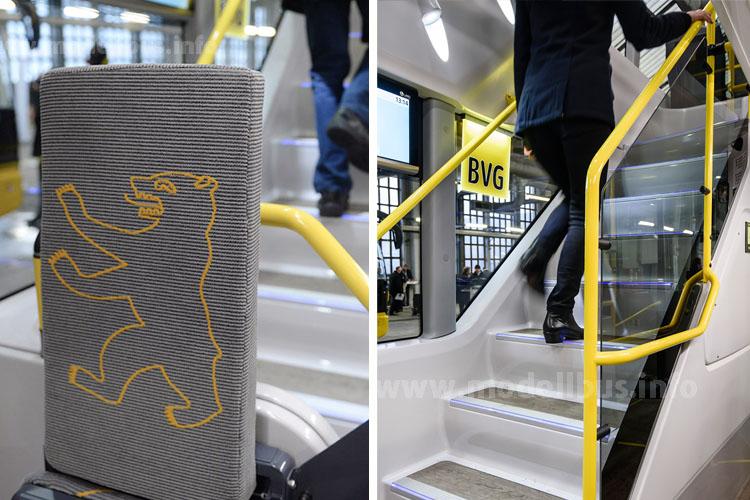 Auch optisch markiert der Doppeldecker eine neue Linie: Der Berliner Bär ziert den Bezugsstoff auf den Sitzplätzen und an den Stehperrons. Und: Es gibt nur noch eine Treppe.