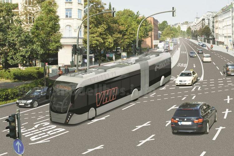 Elektromobilität in Hamburg: Auch die VHH ist mit einem Van Hool Exqui.City dabei.
