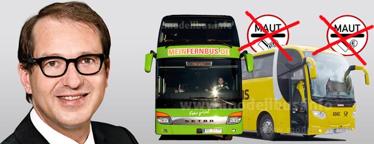 Keine Fernbus-Maut mit Bundesverkehrsminister Alexander Dobrindt.