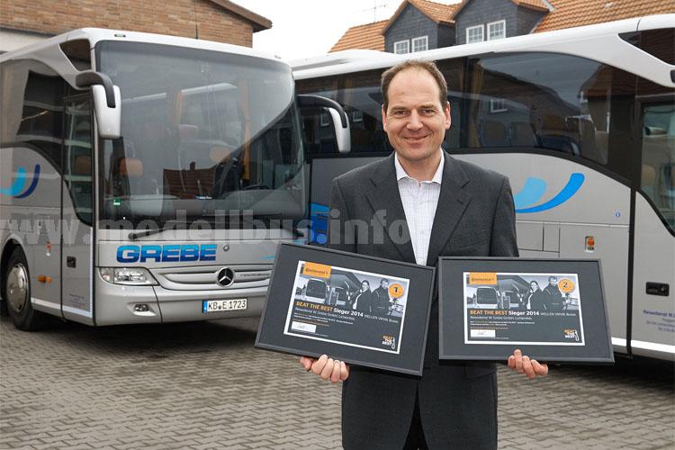Strahlender Gewinner des ersten und zweiten Platzes im Beat-the-Best-Wettbewerb Busreifen: Markus Grebe, Geschäftsführer der Reisedienst W. Grebe GmbH