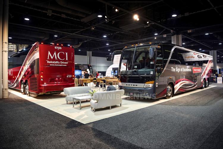 Das Setra Exponat S 417 TC auf dem Stand des Vertriebspartners MCI anlässlich der UMA Expo 2016 in Atlanta, Georgia.