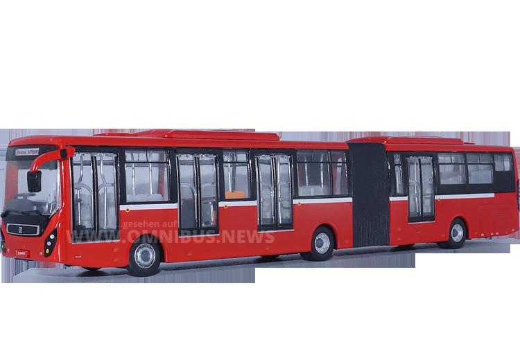 64-fach verkleinert: Der Sunwin SWB6180 BRT Gelenkbus auf Volvo-Basis. Foto: Schreiber