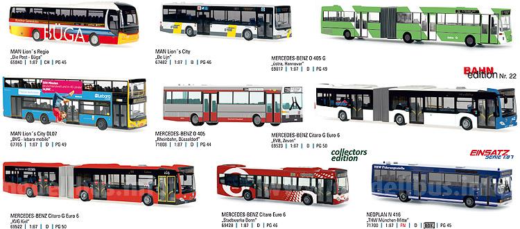 Die Rietze-Auslieferung 04.2015 enthält neun Modellbusse.