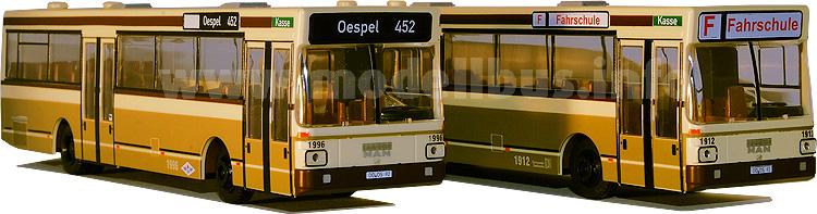 Dortmunder ÖPNV in den 80er Jahren - zwei Modellbusse erinnern an die alte Farbgebung.