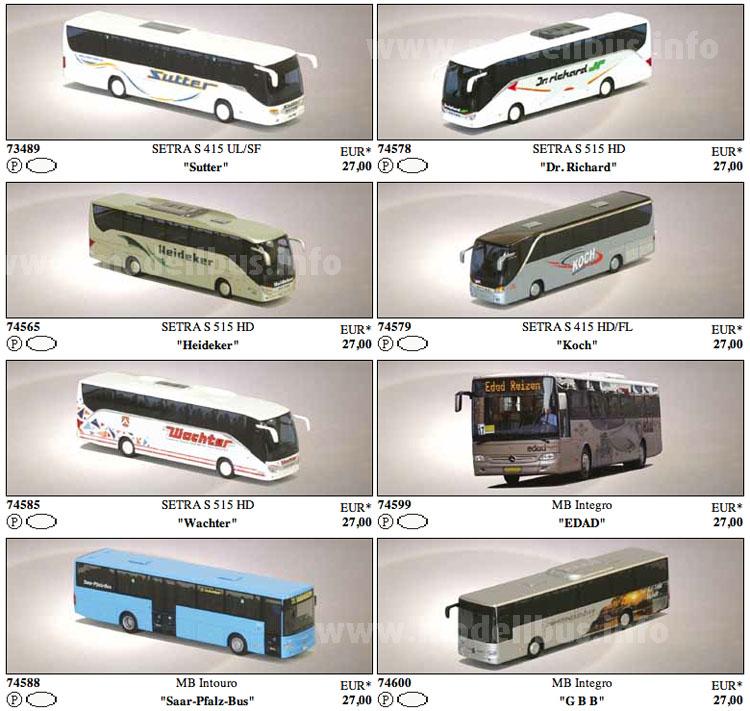Acht Modellbusse mit Bedruckungsvarianten bekannter Modellbusse liefert AWM im 1. Buspaket aus.
