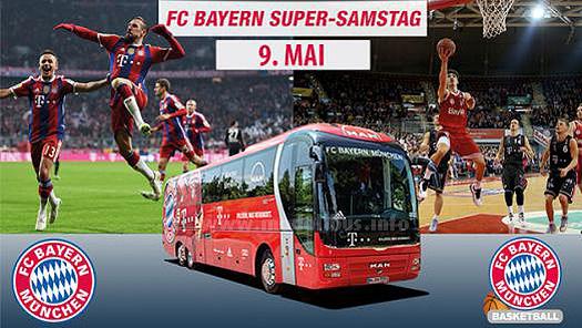 Der FC Bayern fährt Fans im MANschaftsbus von einem Spiel zum nächsten Spiel...