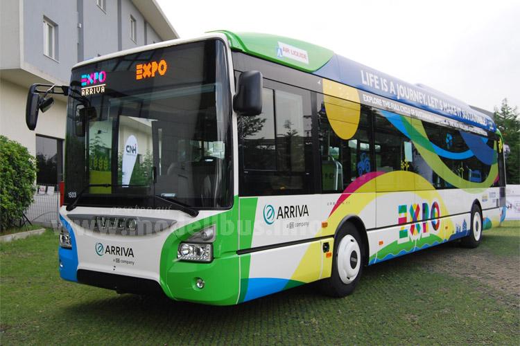 Sieben Urbanway CNG sind während der EXPO 2015 als Shuttle im Einsatz.