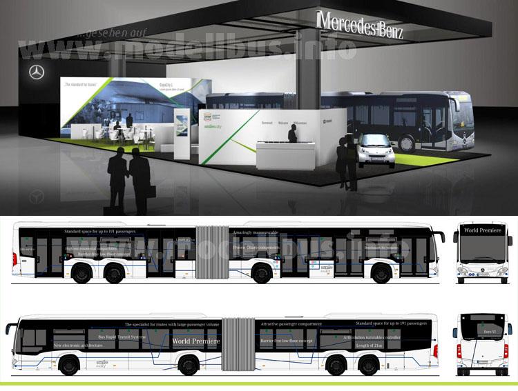 Daimlers Messestand auf dem UITP-Kongress 2015 in Mailand und der CapaCity L im entsprechenden Messedesign.