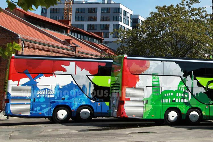 Auch optisch ist die europaweite Expansion des grünen Fernbusanbieters nicht zu übersehen.