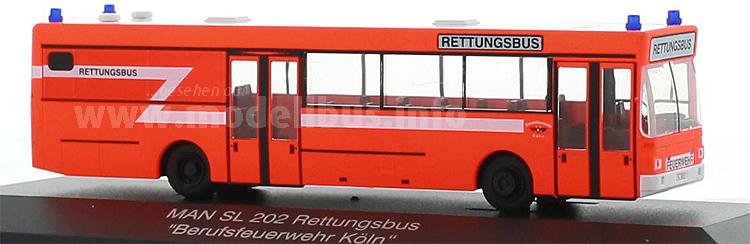 Limitiert und in einer PC-Box: Der Kölner Rettungsbus von Rietze.