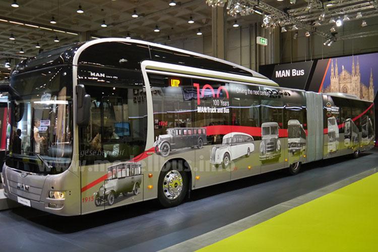 Die Timeline zeigt einige Busse aus dem Hause MAN, die in den letzten 100 Jahren gebaut wurden.