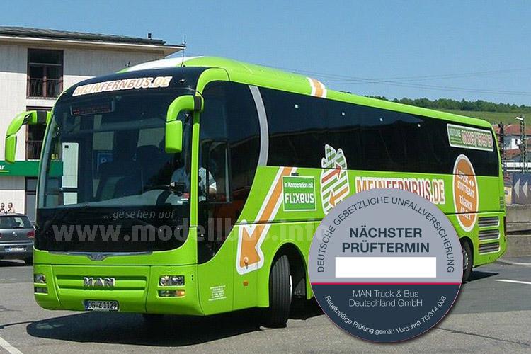 MAN entwickelt ein Servicekonzept für Fernbusse - einschließlich einer Prüfplakette.