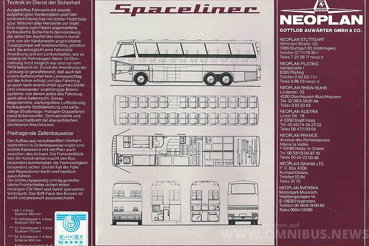 Mit einem Werbeprospekt ging Neoplan 1979 auf die Kunden zu, einen fertigen Spaceliner gab es noch nicht. Grafik: Neoplan