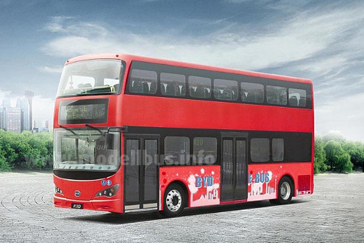 Traditionell die Farbe, revolutionär der Antrieb: Der K10 von BYD fährt elektrisch, für London auf zwei Achsen.