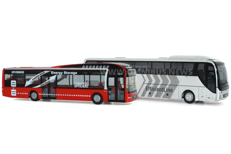 Neu im Maßstaßstab 1/87: Der Lions City Hybrid und Coach mit neuer Bugmaske. Foto: Rietze