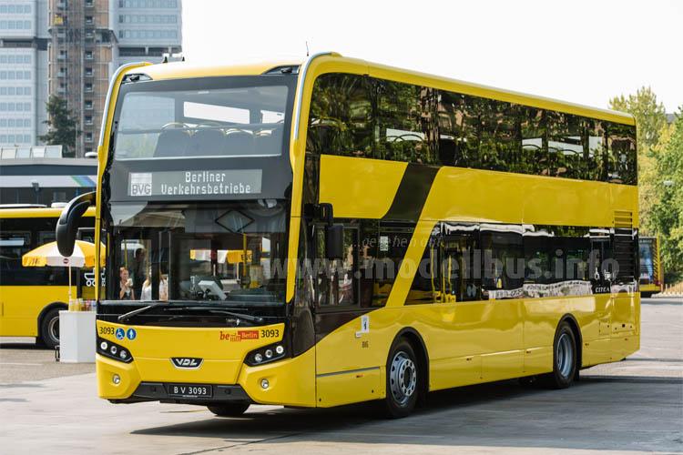 Weltpremiere in Berlin: Der neue VDL-Linienbus-Doppeldecker der Citea-Baureihe.