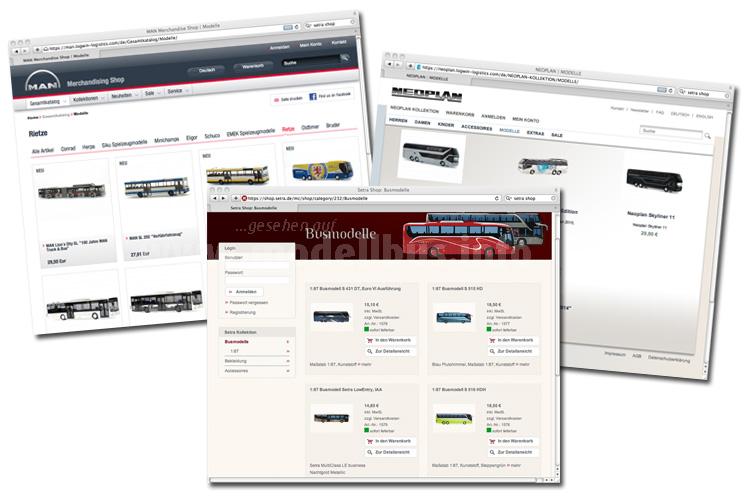 Neue Modellbusse in den Online-Shops von MAN, Neoplan und Setra.