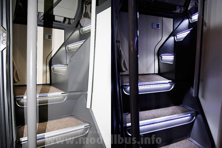 Im Fahrzeuginnern hochwertige Materialien und neueste (Licht-)Technik.