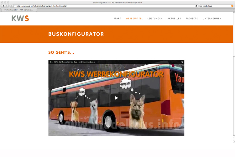 Online lässt sich mit dem KWS-Buskonfigurator Werbung auf den Bus zaubern.