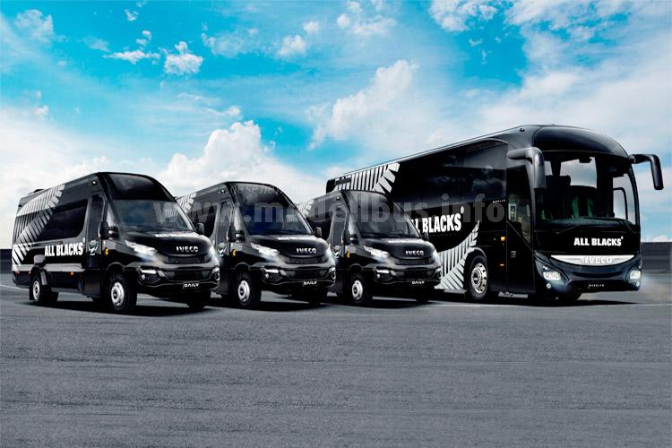 Den Fuhrpark der Rubgy-Weltmeisterschaft stellt Iveco Bus zur Verfügung.