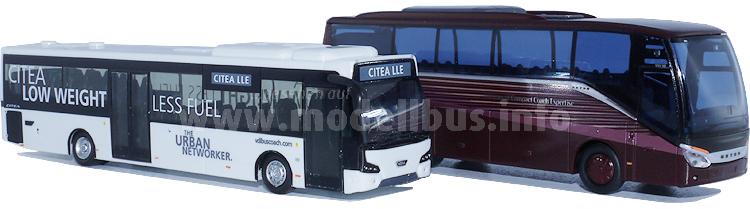 Zwei neue Modellbusse sind zur Busworld am ersten Pressetag erschienen, ...