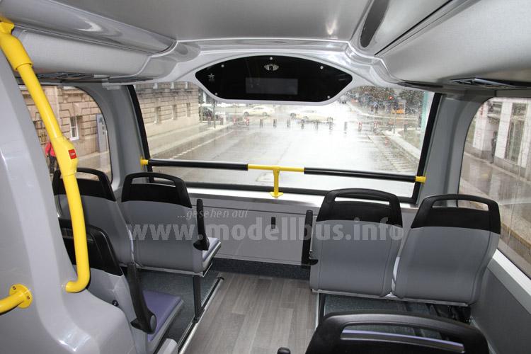 Beste Aussichten im Oberdeck, großzügiger Sitzabstand im gesamten Fahrzeug.