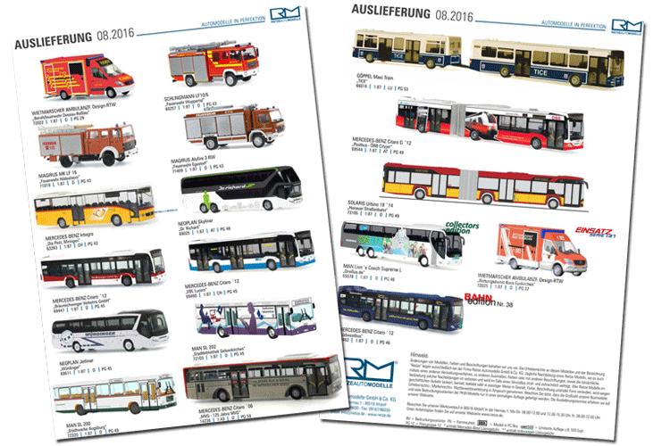 Rietzes Auslieferung 08 enthält Modellbusse. Grafik: Rietze, Fotomontage: omnibus.news