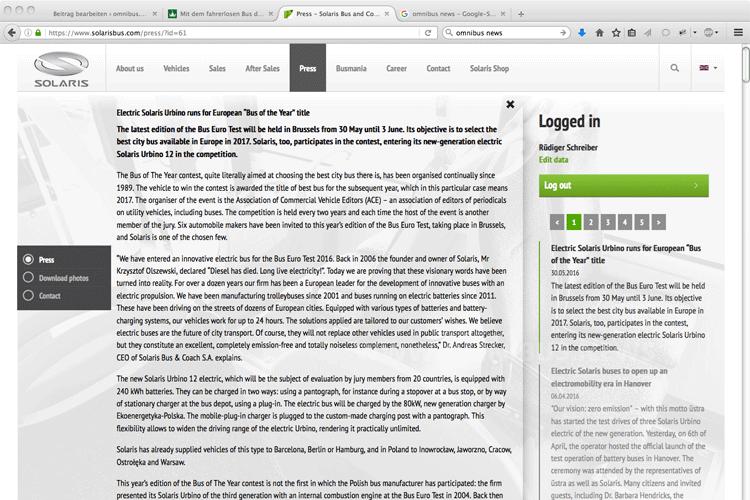 Eine Pressemitteilung in englischer Sprache ist schon online. Screenshot: omnibus.news
