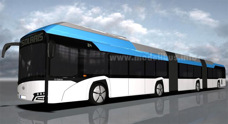 24 Meter wird der elektrisch angetriebene Doppelgelenkbus von Solaris werden.