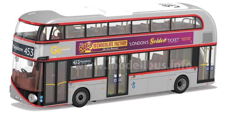 Die Fotomontage von Corgi zeigt den LT 189 als Modellbus im Maßstab 1/76.