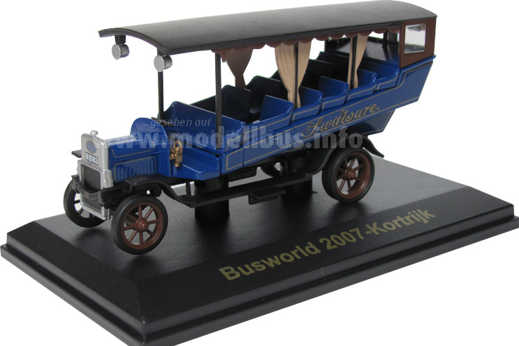 Als Modellbus 2007 für die Gäste der Busworld aufgelegt: Der Leyland Charabancs aus dem Logo der Busworld.