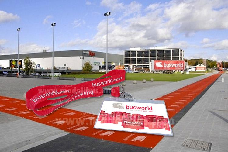 Ein roter Teppich für die Gewinner und Besucher der Busworld wird ausgerollt...