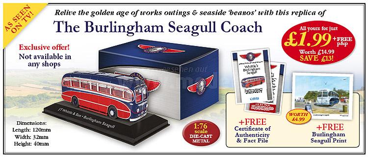 Die Serie startet mit einem Burlingham Seagull Coach aus Formen von Corgi.