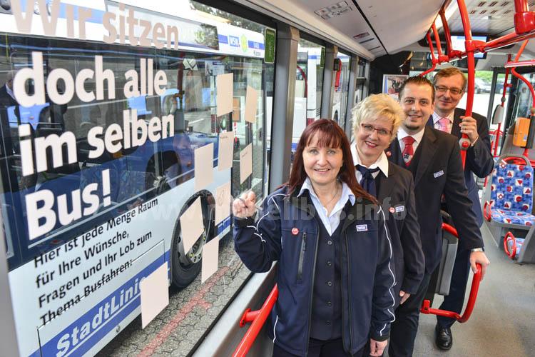 """""""Wir sitzen doch alle im selben Bus!"""" - Unter diesem Motto fordern Wuppertals Busfahrerinnen und Busfahrer ihre Fahrgäste auf, Wünsche, Lob und Kritik zum Busfahren zu äußern."""