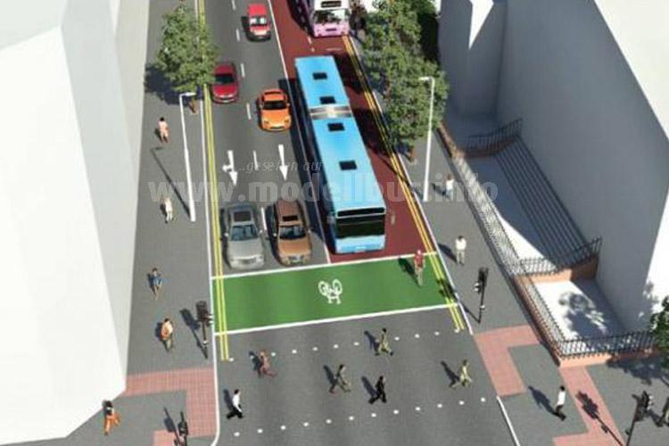 Mit eigen Spuren und neuen Haltestellen will Belfast das BRT System aufbauen.