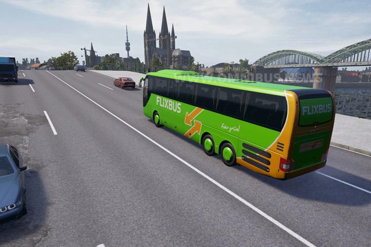 Im Simulator auf dem Weg nach Köln. Screenshot: Flixbus