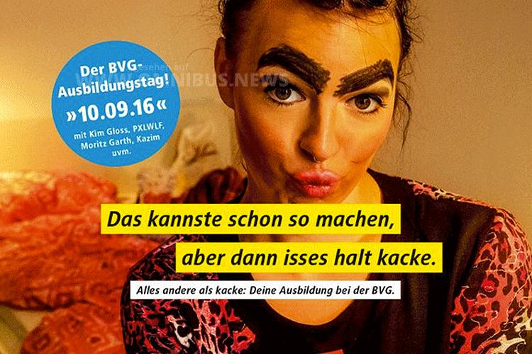 Mit einen zielgruppenorientierten Plakat wirbt die BVG für den Ausbildungstag. Foto: BVG