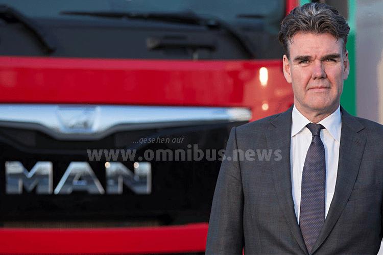 """Joachim Drees, Vorstandsvorsitzender von MAN Truck & Bus und Mitglied der Geschäftsführung von Volkswagen Truck & Bus fasst zusammen: """"Wir haben ein wahres Feuerwerk an Innovationen gezündet."""". Foto: MAN"""