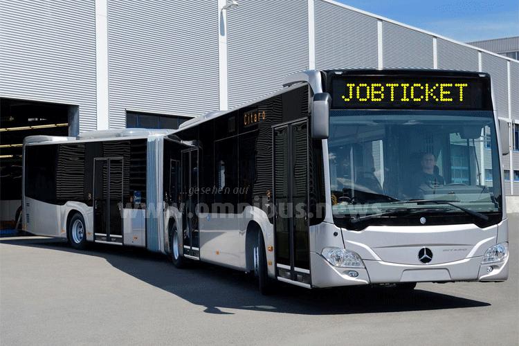 Mit dem Jobticket direkt bis ins Werk. Foto: Daimler / Montage: omnibus.news