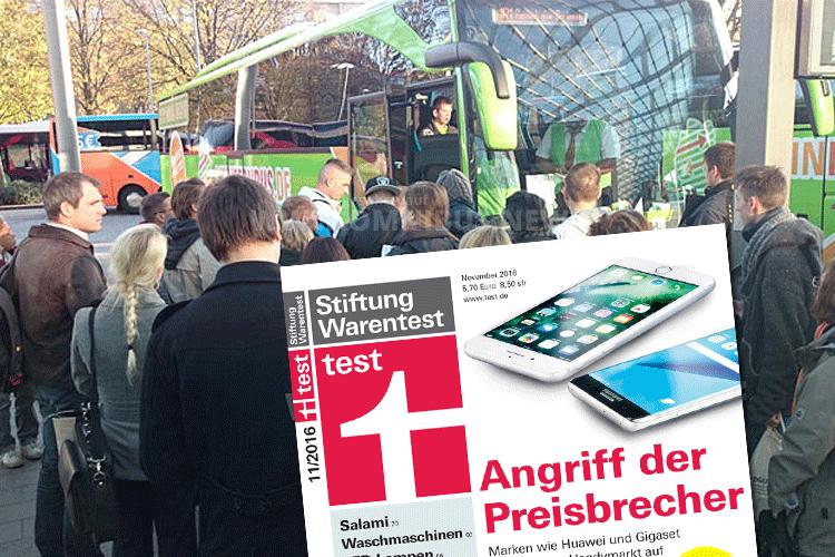 """""""test"""" mit einem Test der Fernbusse in Heft 11/2016. Foto: Schreiber, Cover: test"""