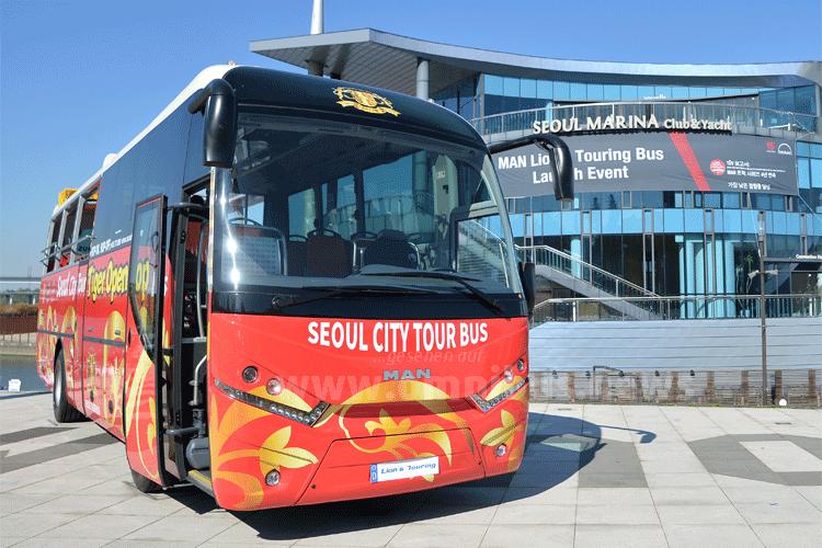 Mit dem MAN Lions Touring auf Stadtrundfahrt in Seoul City. Foto: MAN