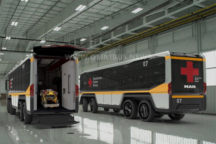 Zukunftsweisend: Das Fahrzeugkonzept von Student Johannes Schmutzler könnte bei Einsätzen in Krisengebieten helfen, die Versorgung von Kranken und Verwundeten deutlich zu verbessern und die Arbeit des medizinischen Personals zu erleichtern. Foto: MAN