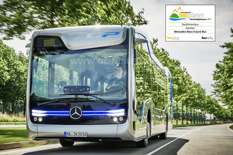 Der Mercedes-Benz Future Bus ist jetzt mit dem Nachhaltigkeitspreis 2017 von der Fachzeitschrift busplaner ausgezeichnet worden. Foto: Daimler