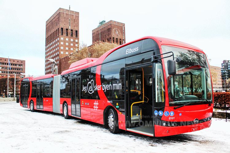 BYD-E-Gelenkbus in Oslo