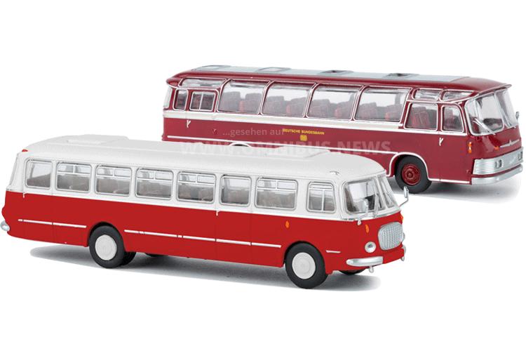 Zwei neue Brekina-Busse