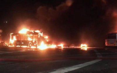 Feuer im ATAC-Busdepot
